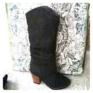 Dark denim cowgirl style boots
