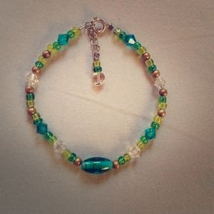 Green and Blue Bracelet w/ Swarovski Crystal beads