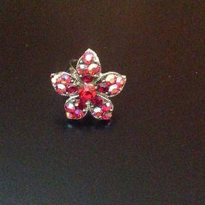 Red, silver, black flower ring