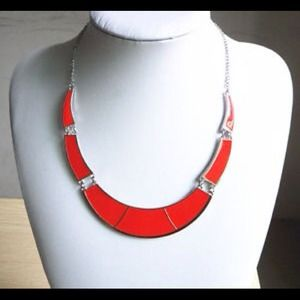 Red Choker Collar Bib Necklace