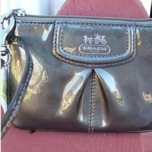  Coach Madison pewter leather wristlet