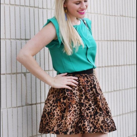 WEAR IN LA Skirts - Leopard print skirt elastic skater black silky