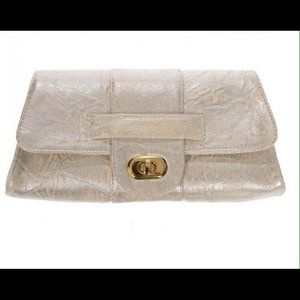 J.J Winters Gold Chain Leather Shoulder Bag
