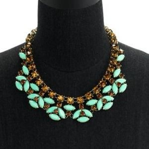 Green Mint stones & orange crystals necklace
