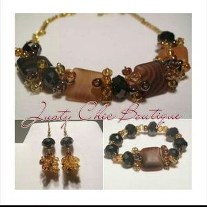 Jewelry - Necklace, Earrings and Bracelet Set. Chocolate