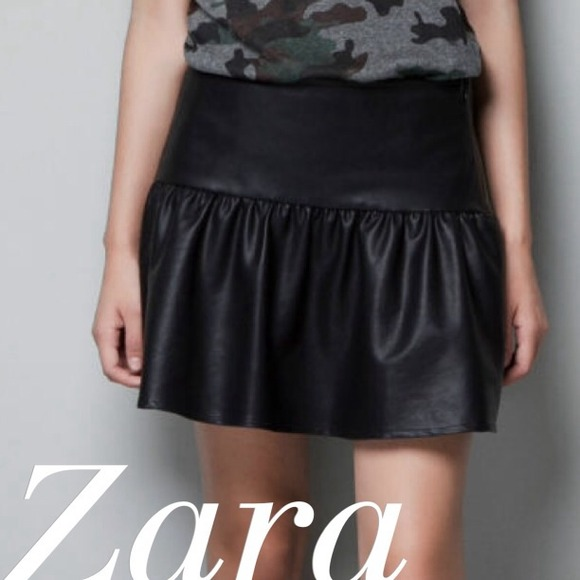 80% off Zara Dresses & Skirts - Zara faux leather frill skirt xs ...