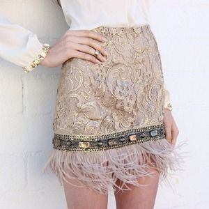 Host Pick Feather Trim Skirt ❤