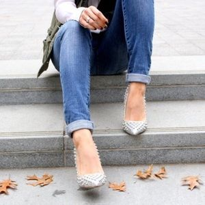Shoemint Shoes - Silver Glitter Spiked Pointed Toe Pumps 7 Shoemimt
