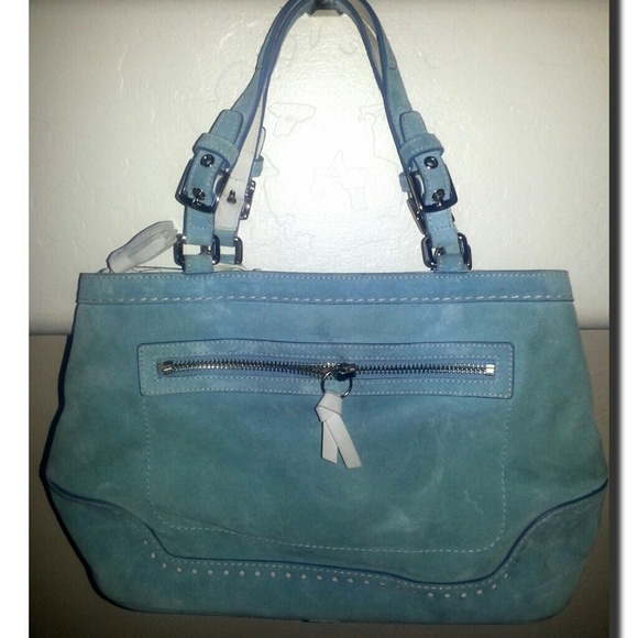 Coach Handbags - Blue Suede Coach Purse