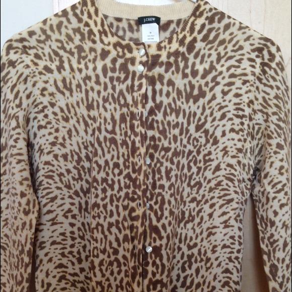 e9898a79465c J. Crew Sweaters | J Crew 100 Merino Wool Leopard Print Cardigan ...