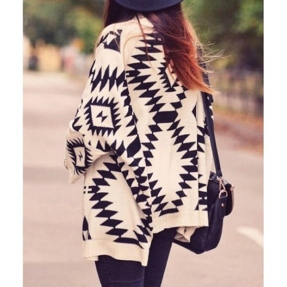 Sweaters - Cream Oversized Tribal Print Knit Cardigan 2