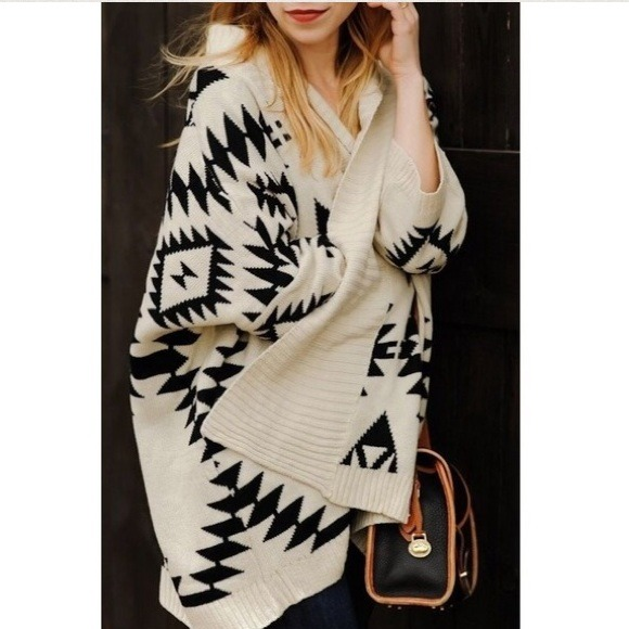 Sweaters - Cream Oversized Tribal Print Knit Cardigan 3