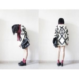 Sweaters - ✖️SOLD✖️Cream Oversized Tribal Print Knit Cardigan 1