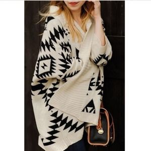 Sweaters - ✖️SOLD✖️Cream Oversized Tribal Print Knit Cardigan 3