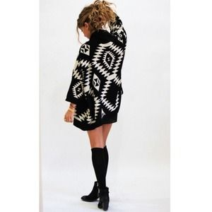 Black Oversized Tribal Print Knit Cardigan