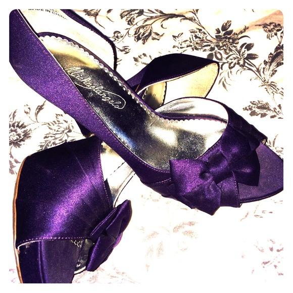 Davidu0027s Bridal PLUM Purple Satin Heels Pumps Bow