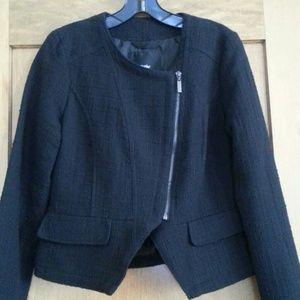 Tweed black blazer with zipper detail