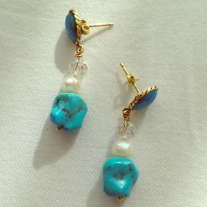14k gold post turquoise post earrings