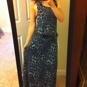 Black and gray cheetah print maxi