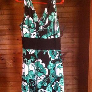 Long Elegant Legs Dresses & Skirts - V neck Green, white and black floral dress.