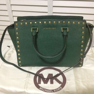 NOT AVAIL MICHAEL KORS LARGE SELMA GREEN MALACHITE