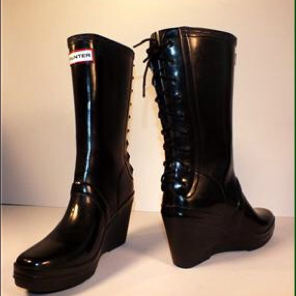 60% off Hunter Boots - HUNTER Verbier Black Wedge Lace-Up Rain ...