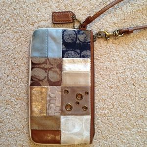 Coach leather patchwork clutch