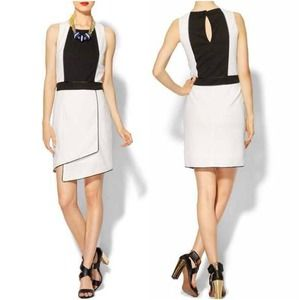 Black & White Color Blocked Tiered Skirt Dress