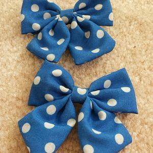 Accessories - Blue Polkadot Hair Bows