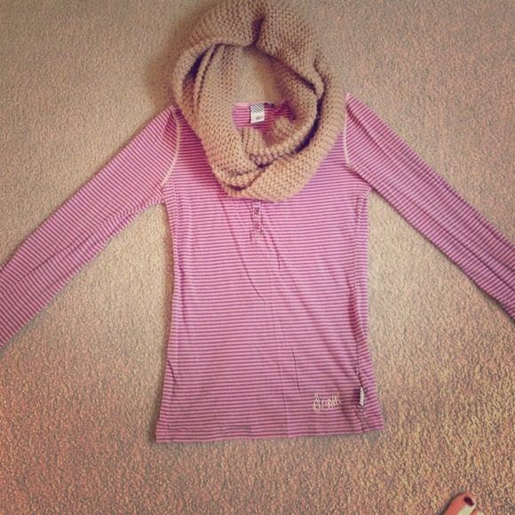 Volcom Tops - Candy striped pink and brown long sleeve top