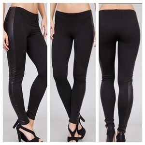 Leggings with leatherlike detail