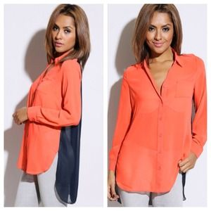 Color block coral and navy hi low chiffon blouse