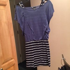 Blue & Navy/White Striped Off the Shoulders Dress