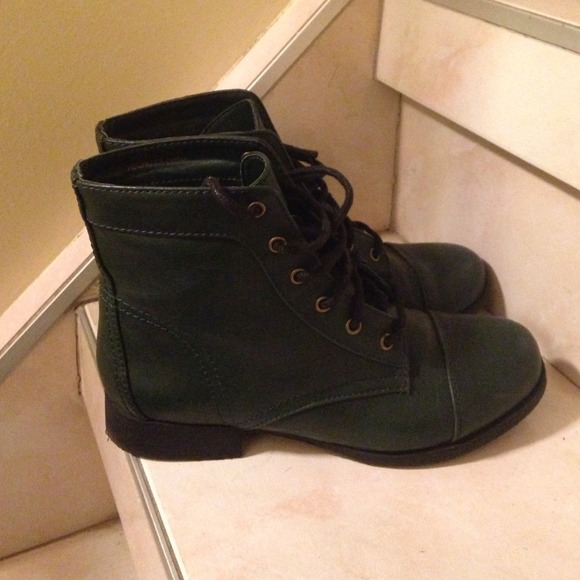 29% off Forever 21 Shoes - HUNTER GREEN ANKLE COMBAT BOOTS from ...