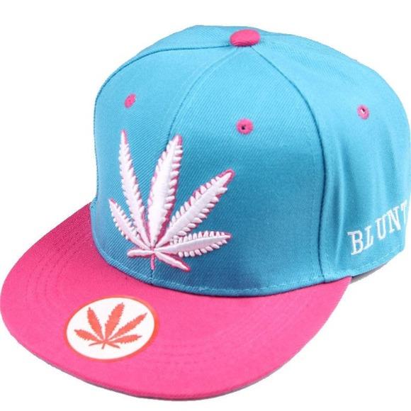 Accessories - Marijuana Leaf Hat Pink n Blue 9620c6363fd
