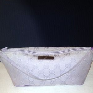 Gucci Small Lavender Monogram Pouchette Authentic