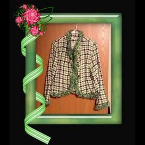 Anage Jackets & Blazers - Womans jacket black,green & white houndstooth