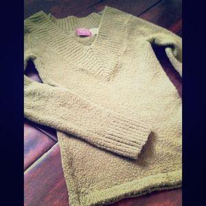Military green v-neck sweater