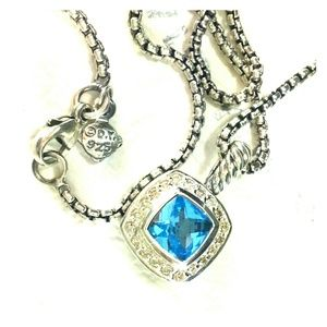 David yurman 7mm blue topaz, albion necklace