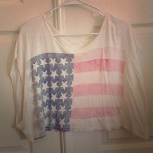 white crop top w/ faded American flag