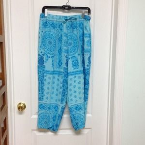 Carol Anderson Collection Pants - Turquoise print pants