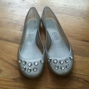 J.Crew silver jeweled jelly ballet flats, sz 7