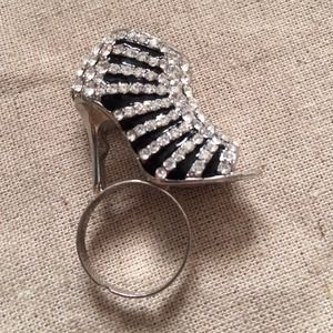 Silver Tone Black Enamel and Crystal Shoe Ring
