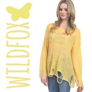 WILDFOX COUTURE Yellow Bel Air Lennon Sweater L