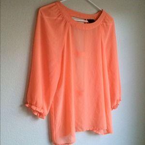 Tops - Peach chiffon shirt