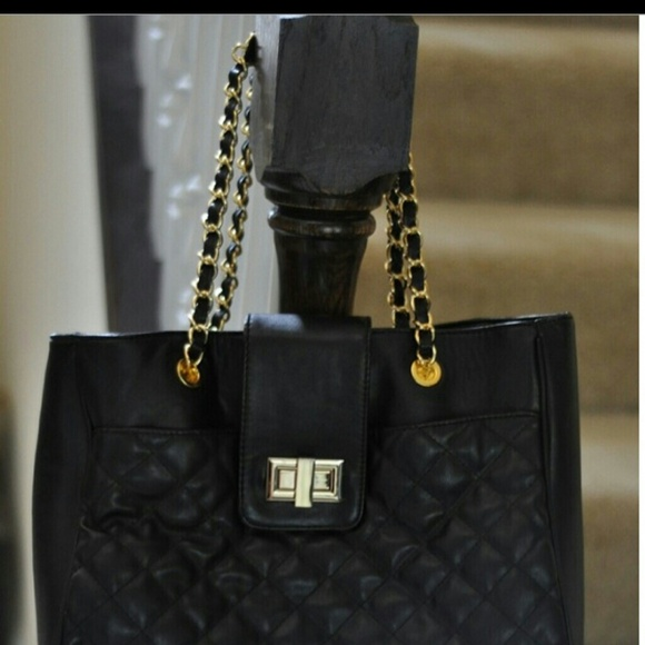 ALDO Bags | Bag Purse Quilted Gold Chain Black | Poshmark