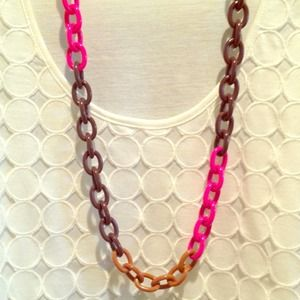 J.Crew Pink Colorblock Chain Link Necklace