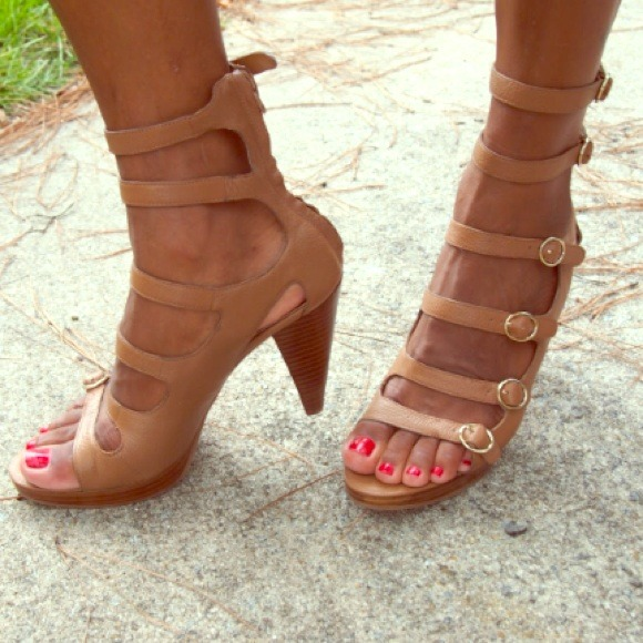 38% off Nine West Shoes - 🎀Strappy Tan Leather Heels from Nine ...