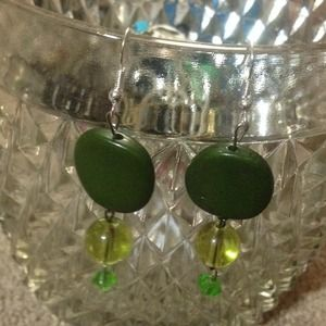 Green and yellow dangle earrings