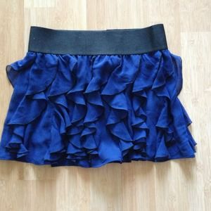 Express Ruffle Mini Skirt in Deep Blue